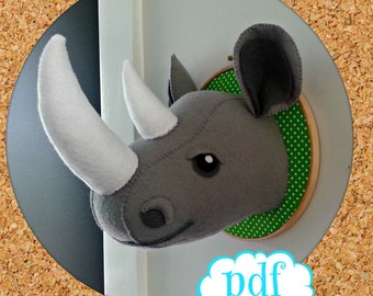 Rhino head. Faux taxidermy pdf sewing pattern. Ronnie the Rhino. Sew your own felt safari creature. Instant download