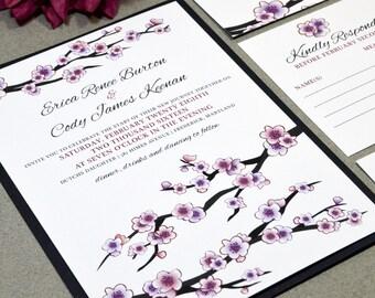 Cherry Blossoms Wedding Invitation Suite - Purple and Pink Wedding Pocket Folder Set - Japanese Tree Wedding Invitations - Classic Invites