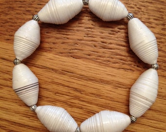 Rolled recycled paper bead stretch bracelet JB15006
