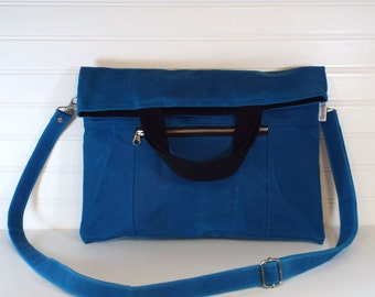 Hand-Waxed Canvas Foldover Tote, Turquoise