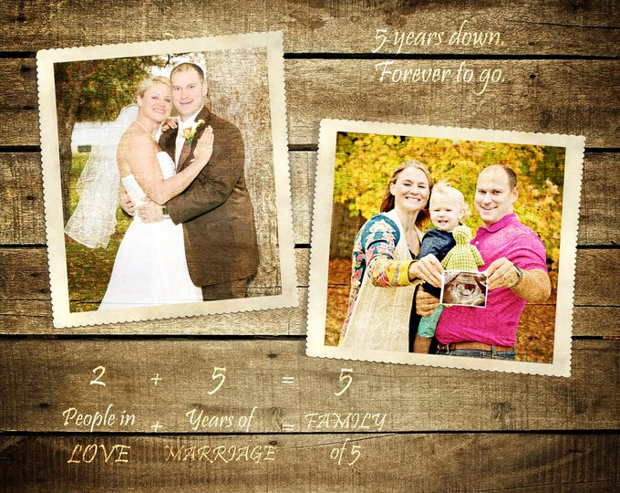 5th Anniversary Gift 5 Year Anniversary Parents Anniversary Family Portrait Wood Anniversary Gift Wedding Picture Gift Photo Gift 20x24
