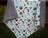 Baby Blanket- Pirate Baby Blanket with Chevron Minky- Minky Blanket- Pirate Theme