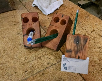 surprised pencil holder made from rustic barn beam
