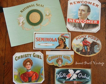 7 Vintage Cigar Box Labels Brilliant colors and Embossing Christy girl pony post white orchids brands tobacciana
