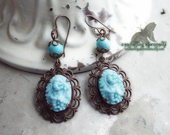 OPHELIA ~ Vintage Blue Floral cameo earrings with Vintaj Natural brass, howlite gemstones