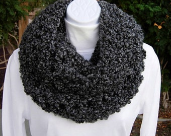 INFINITY SCARF Loop Cowl Black Dark Gray Grey Tweed Large Thick Bulky Chunky Wide Soft Winter Handmade Crochet Knit..Ready to Ship in 2 Days