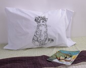 Screen Printed Pillow Cases - Set of 2 Standard Sized Pillow Covers - Eco Friendly Bedding - Cat - Floral - Handmade - Cotton Bedding
