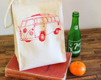 Reusable Lunch Bag - Screen Printed Recycled Cotton Lunch Bag - Eco Friendly Lunch Box - VW Bus - Canvas Tote Bag - Lunch Sack - Handmade