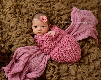 Boston Rose Pink Baby Cocoon Newborn Photography