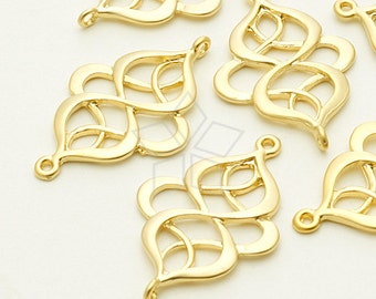AC-545-MG / 2 Pcs - India Motif Pendant, Matte Gold Plated over Pewter / 17mm x 27mm