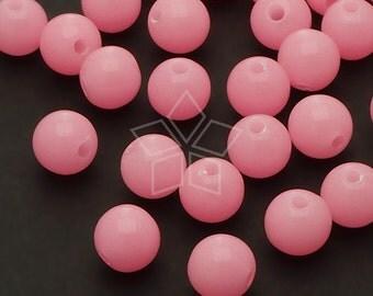 AR-021-PK / 50 Pcs - Luminous Beads, Glow in the Dark Round Bead, PINK Round / 8mm