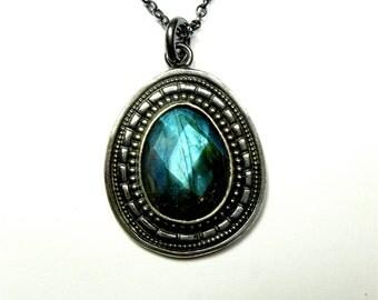 Handmade Sterling Silver Pendant with Checkercut  Labradorite - Pear - Freeform - Oblivion Jewellery - Designer Jewellery - Blue Labradorite
