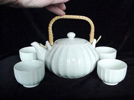 Items Similar To White With Wicker Handle Tea Set Tea Pot