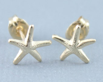 Gold Filled, Sterling Silver Tiny Dainty Starfish Stud Earrings, Starfish Stud Earrings, Tiny Gold Stud Earrings, Everyday Earrings