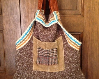 Soft recycled sweater purse with rich colors & textures
