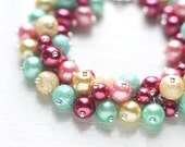Spring Wedding Bridesmaid Jewelry, Colorful Pearl Cluster Bracelet in Pastel Pink, Mint Green, Yellow and Burgundy