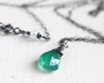 Green Onyx Necklace Wire Wrapped in Oxidized Sterling Silver, Bright Emerald Green Gemstone