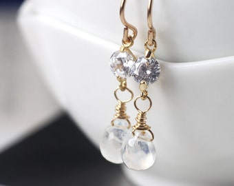 Moonstone Earrings in 14k Gold, Delicate Dangle Earrings with Cubic Zirconia Connector, June Birthstone