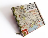 Gift for him Valentines Day Travel Journal London Map Notebook or Diary Textile covers Reisetagebuch Traveller Sketchbook Holidays England
