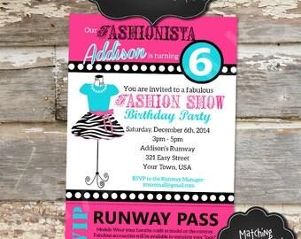 FASHION SHOW Custom Printable Birthday Invitation - Digital File, You Print - 5x7 - Wording & Colors Customizable