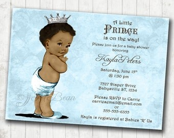 Boy Baby Shower Invitation African American Baby Shower Invitation For Boy - Prince - Crown - Blue & Silver - DIY Printable