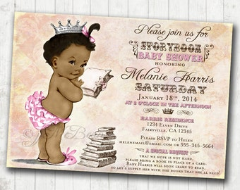 Storybook Baby Shower Invitation For Girl Baby Shower - Storybook Invitation - African American - DIY Printable