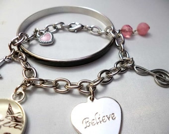 SALE Pair of Inspirational Color Changing Uplifting Bangle and Charm Bracelets
