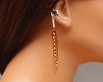 No Piercing Ear Cuff Boho Brown and Grizzly Feathers Gift Under 10