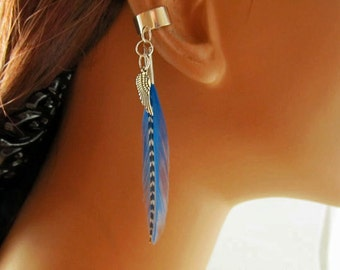 Boho Ear Cuff Earring Kingfisher Blue and Grizzly Feather Antiqued Wing Charm Handmade