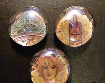 Three Alphonse Mucha magnets