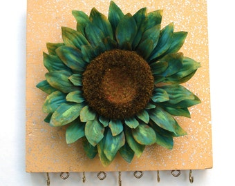 Jewelry hanger for earrings and necklaces - Green Yellow Sunflower