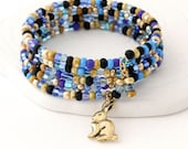 Beaded Wrap Bracelet - Gold Memory Wire, Antique Gold Bunny Rabbit Charm, Czech Glass Seed Beads
