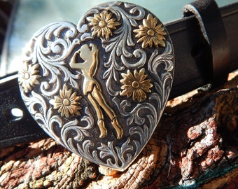 Ladies Black Leather Belt w/ Heart Trophy Buckle and Pixie