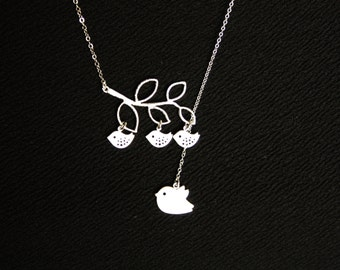 Lariat Y necklace Mama bird and Babies  - Sterling Silver , Bird necklace, family necklace, mothers necklace , mother's day gift , for her