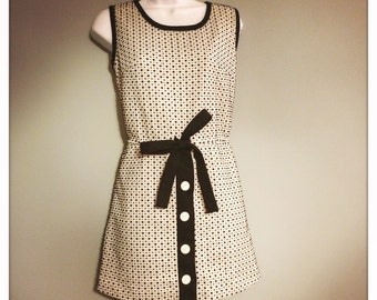 60s Black and White Playsuit Skort            International Shipping
