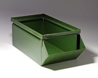 Vintage Industrial Green Metal Bin - circa 1960's