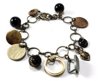 Victorian Steampunk Charm Bracelet - Monopoly Iron, Vintage Trolley Tokens, Victorian Buttons, Watch Parts - Steampunk Victorian Jewelry