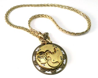 Steampunk Necklace, 1907 Gilded Pocket Watch Movement Medallion Necklace on Vintage Chain,