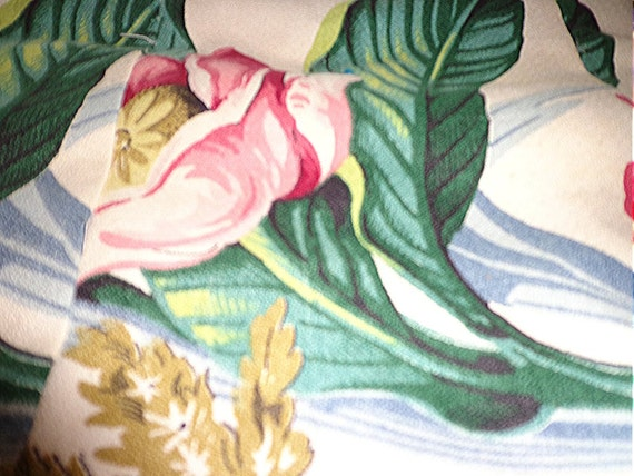 Vintage Tropical Barkcloth Quilt Leaves Fronds Pink Cottage Flowers Lap Robe Crib Quilt Throw