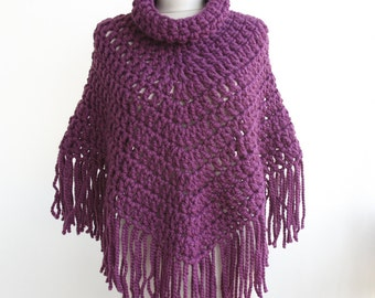 Crochet poncho, purple cape, women winter sweater , cowl shawl with tassel boho  retro scarf 70s style