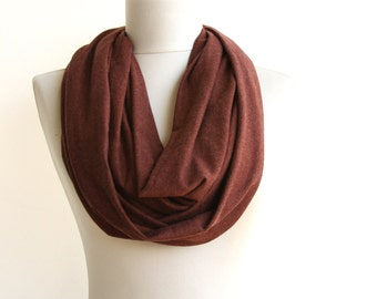 Brown tube scarf circle scarf infinity scarf cotton jersey scarf mens gift idea fathers day unisex gift for dad