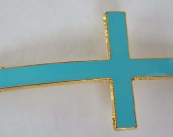 1PC - Cross Connector - Blue Enamel and Gold Toned - 42x21mm