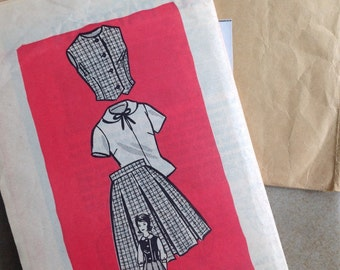 Vintage Sewing Pattern 1960s Girls pleated Skirt Vest Blouse Size 8 Weskit Mail Order Pattern Size 8