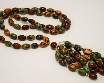 Vintage agate glass bead necklace. Tassle necklace. Tassel necklace.