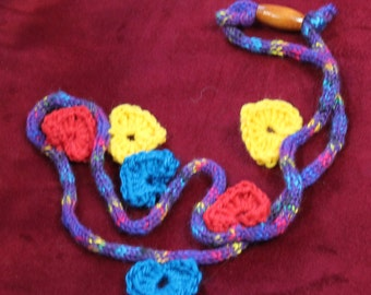 Yarn Heart Necklace, Multicolor Crochet Hearts on a Purple Tweed Cord with Bead Closure, Adjustable, Fun Fashion Jewelry