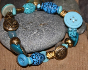 Upcycled Beaded Bracelet Vintage Brass Buttons Turquoise Beads