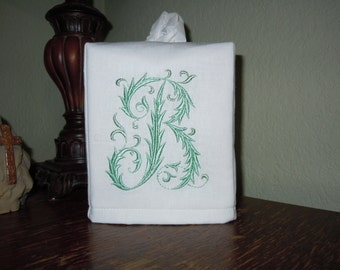 "Monogrammed Essex White Linen Tissue Box Cover -  French Monogram ""B"""