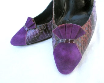 Vintage Heels Leather Snake Skin Purple Suede Bow Snake Skin J. Renee Pumps 1980 80s SZ 8 Größe 38
