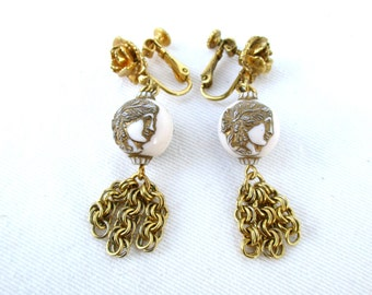 Vintage Earrings Classic Romantic Clips Screw back Hollywood Regency Cameo Tassel Rose Chain Gold Tassels 1980 80s