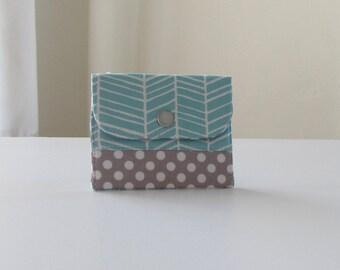 Gray and Aqua Herringbone Business Card Case, Fabric Coin Purse in Blue Herringbone, Credit Card Wallet - PREORDER